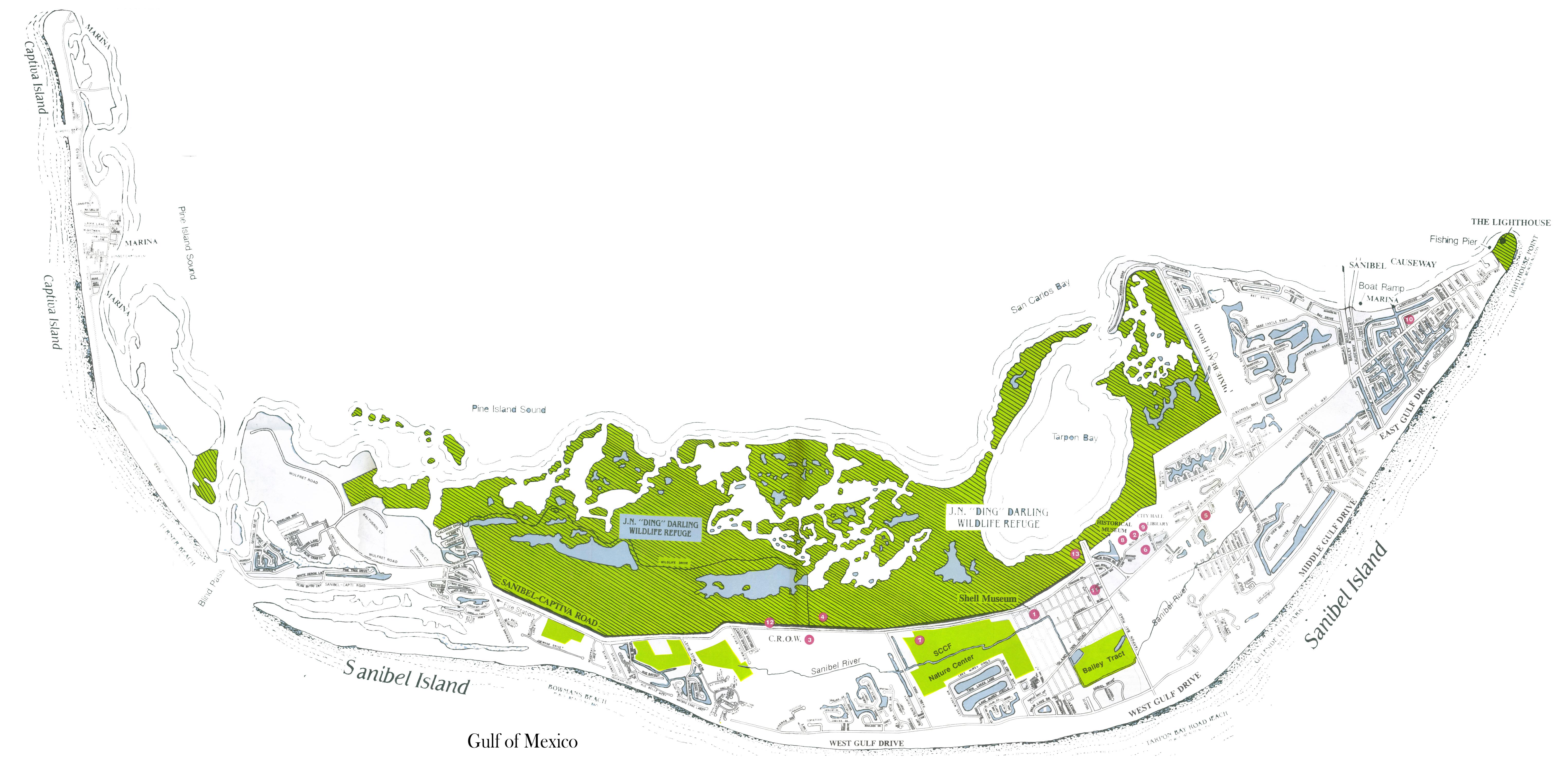 Sanibel Island Attractions Map: Sanibel, Captiva Island, And North Captiva Island Maps